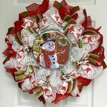Home for the Holidays Bottle Cap Tin Snowman Deco Mesh Christmas Wreath - $94.99