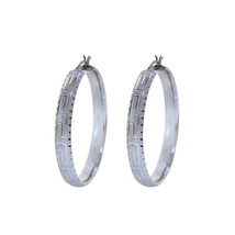 14K White Gold Diamond Cut Hoop Earrings - $741.51