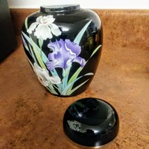 YAMAJI Fine China Made in Japan Black Ginger Jar w/ Lid Iris Floral Design and G image 4