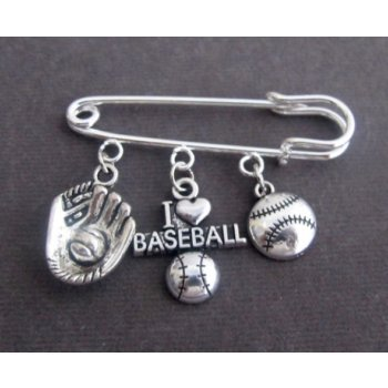 Primary image for I Love Base Ball Kilt Pin,Base Ball Lovers Brooch with Baseball & Mitten Charm