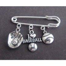 I Love Base Ball Kilt Pin,Base Ball Lovers Brooch with Baseball & Mitten... - $12.00