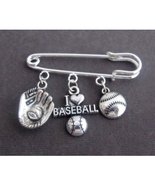 I Love Base Ball Kilt Pin,Base Ball Lovers Brooch with Baseball & Mitten... - $12.00
