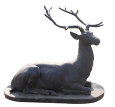 Oversized Iron Deer Sculpture on Marble Base,43''L X 34''TALL. - $1,287.00
