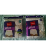HANES WOMENS COTTON BRIEFS 3 PACK, SIZE 7  & 9, WHITE  - NEW / SEALED - $12.98