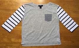 Gap Kids Girl's Gray, Blue & White Striped Pocket Shirt - Size: Medium - $9.89