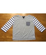 Gap Kids Girl's Gray, Blue & White Striped Pocket Shirt - Size: Medium - $9.89