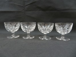 Vintage Mid Century Art Deco etched crystal 4 wine glass - $19.00