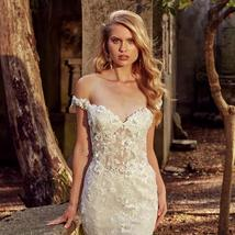 Floral Lace Crystal Appliques Mermaid Wedding Dresses With Detachable Train image 5