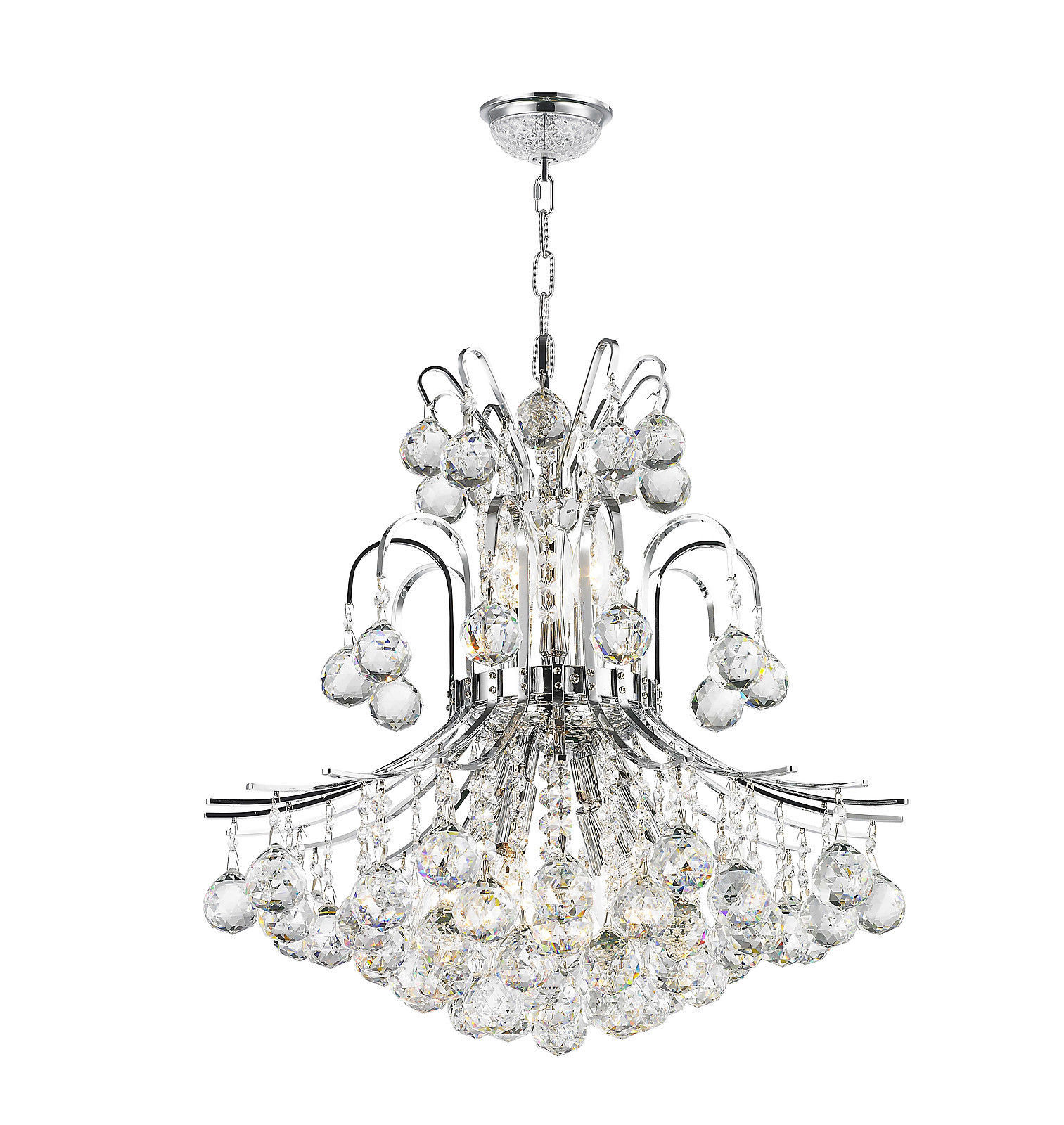 "Primary image for 9-Light Chrome Finish D 19"" x H 23"" Empire Collection Crystal Chandelier Light"