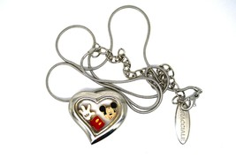 Bracciale Disney Heart Locket Necklace W Floating Mickey Mouse Hand Pants Charms - $24.74