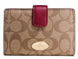 Coach Medium Corner Zip Compact Wallet Signature F53562 - $66.48