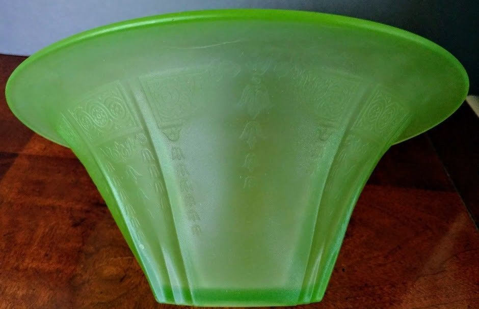 Vaseline GlassAntique 1900's Bohemian Walther & Sohne Satin Green Compote Center