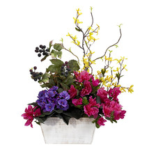 Mixed Floral w/Azalea & White Wash Planter Silk Arrangement - $54.96