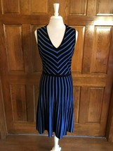 Anne Klein Black and Lilac Striped V- Neck Sleeveless Knit Dress Large - $34.65