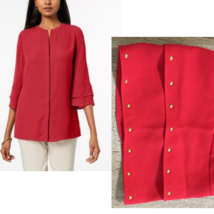 JM Collection Studded Tiered Sleeve Hidden Placket Blouse, Red NWT Small - $11.52