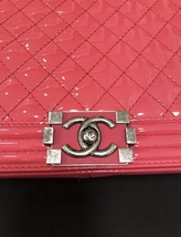 NEW AUTH CHANEL PINK QUILTED PATENT LEATHER LARGE BOY FLAP BAG  image 7