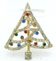 Gold Tone Multi Color Glass Rhinestone Christmas X-Mas Tree Pin Brooch V... - $39.60