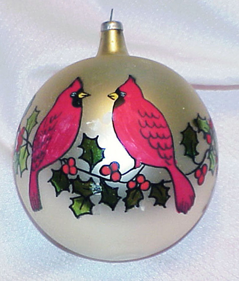 Primary image for Vintage Glass Christmas Ornament - ITALY - Red Cardinal Birds