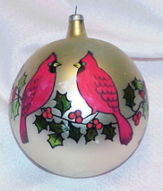 Vintage Glass Christmas Ornament - ITALY - Red Cardinal Birds - $12.99