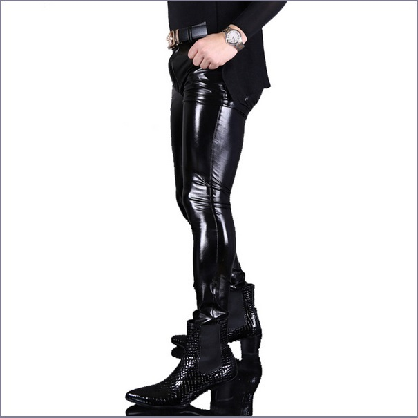 "Men's BLACK Skin Tight ""Wet Look"" Front Zip Stretch Faux Latex Leather Pants"