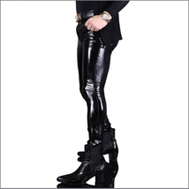 "Custom Men's BLACK Skin Tight ""Wet Look"" Zip Up Stretch Faux Latex Leather Pants image 2"