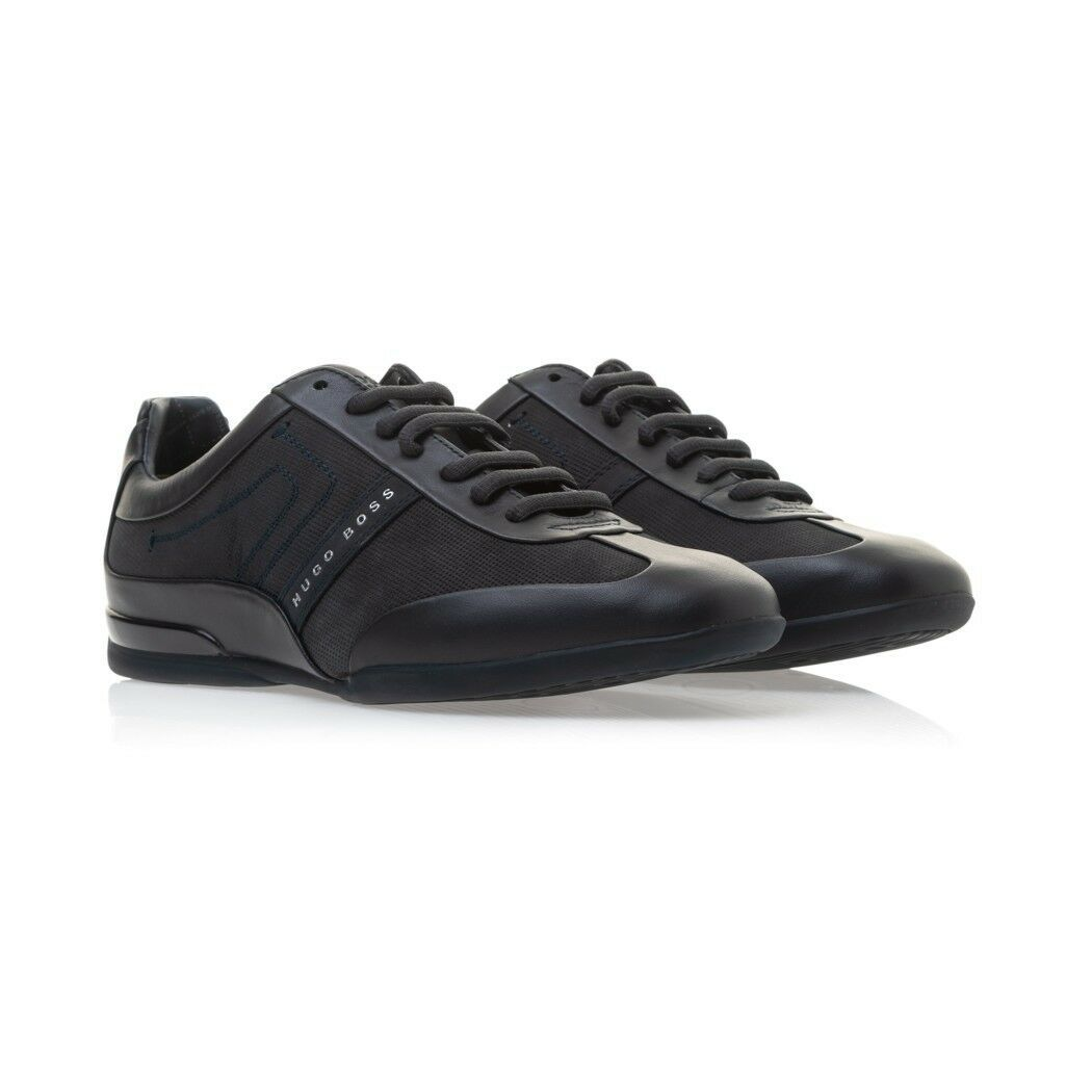 Hugo Boss Men's Sport Leather Sneakers Shoes Space Select Dark Blue