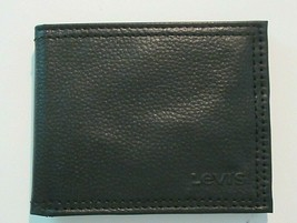 Levi's Mens Genuine Leather Slim Bifold Wallet Black RFID NWT Free Ship - $22.76