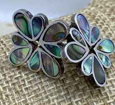 Vintage Mother of Pearl Inlay Flower Sterling Silver Earrings - $49.00