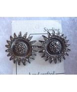 Vintage Oxidized Sterling Silver Marcasite Sunflower Post Earrings - $48.95