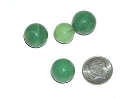 (4) lot vintage marbles 3.5cm 8.9cm solid dark green light, swirl, mater... - $8.73