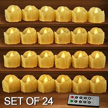 HOME MOST Set of 24 LED Votive Candles with Remote and Timer CREAM - LED... - $39.12