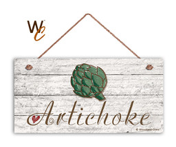 """Artichoke Sign, Rustic Style Garden Sign,  5"""" x 10"""" Wood Vegetable Sign, Kitchen - $11.39"""