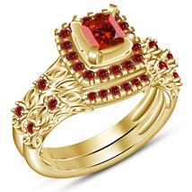 18k Gold Plated Pure 925 Silver Princess Cut Red Garnet Women's Bridal R... - $89.99