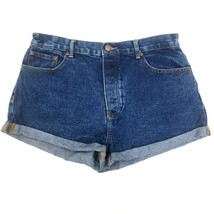 Forever 21 Junior Jr Womens High Waist Blue Denim Jean Booty Shorts 30 Med Wash - $21.77