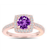 Amethyst Engagement Ring With Diamonds 14K Rose Gold 1.38 Carat Certified - $1,550.00