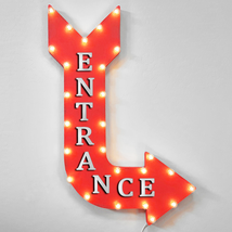 """36"""" ENTRANCE Curved Arrow Sign Light Up Metal Marquee Vintage Resort Sto... - $155.93+"""