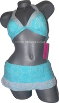 NWT BETSEY JOHNSON S M halter swimsuit skirted bikini stretch lace aqua ... - $62.07