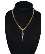 1980's Vintage Slink Chain Gold Tone & Cat Pendant & Earrings Red Crysta... - $16.99