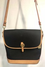 Dooney & Bourke Black Canvas Brown Leather Trim Shoulder Bag Messenger Flap USA - $69.29