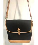 Dooney & Bourke Black Canvas Brown Leather Trim Shoulder Bag Messenger F... - $69.29