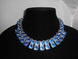 VTG Heavy Silver Tone Blue Plastic Rhinestone Bib Dangle Runway Choker - $99.00