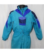 Vintage 80s Size 8 Edelweiss Womens Ski Snow Suit Purple Teal Green Blue - $111.34