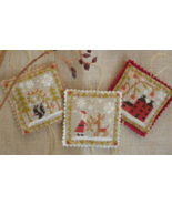 CLEARANCE Christmas Ornament Trio cross stitch ... - $7.00