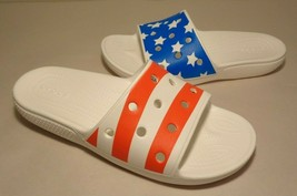Crocs Size 10 Classic American Flag Slide White Sandals New Women's Shoes - $64.35