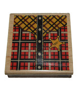"Cowboy Shirt Rubber Stamp New Sheriff Star Plaid Wood Mounted 2 1/4"" High  - $6.43"