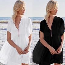 Women White Sexy Dress Beach Button Down Stand Neckline Loose Silhouette... - $21.92