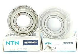 LOT OF 2 NIB NTN BEARING 6204-ZZ-C3/5C BALL BEARINGS SHIELDED 20MM ID 47MM OD image 1