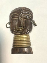 Vtg. Figural Carved Wood Tribal African Face Mask Brooch w Brass Neck Cu... - $88.83