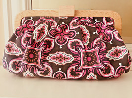 Old Navy Spring/Summer Clutch - Fabric - Pink, Brown & White Casual Handbag - $10.62