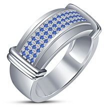 Men's Blue Sapphire Band Engagement Ring 14k White Gold Plated 925 Pure ... - $89.99